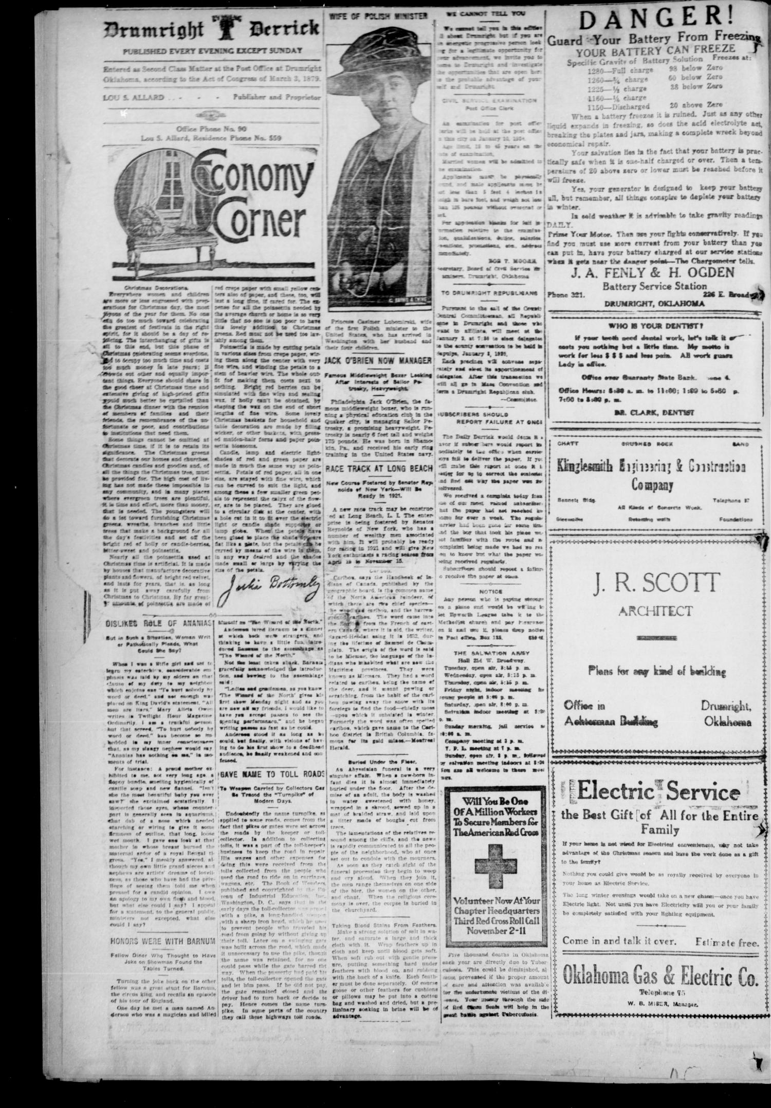 Drumright Evening Derrick (Drumright, Okla.), Vol. 5, No. 295, Ed. 1 Wednesday, January 7, 1920                                                                                                      [Sequence #]: 2 of 8