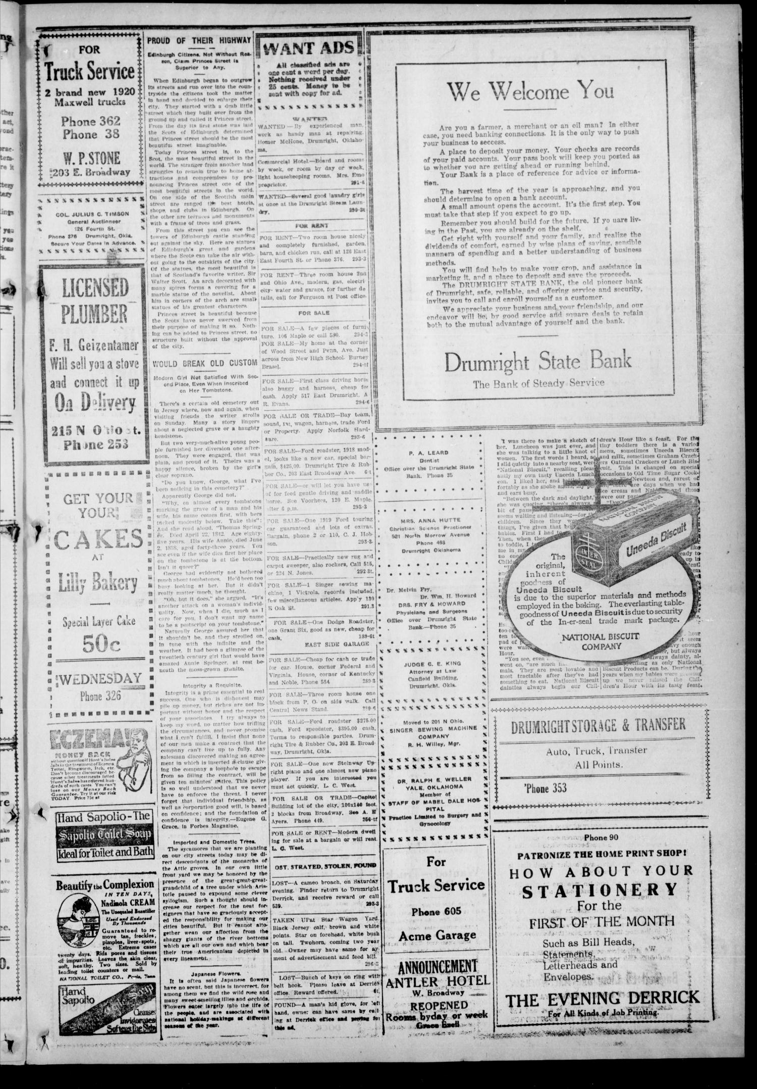 Drumright Evening Derrick (Drumright, Okla.), Vol. 5, No. 295, Ed. 1 Wednesday, January 7, 1920                                                                                                      [Sequence #]: 3 of 8