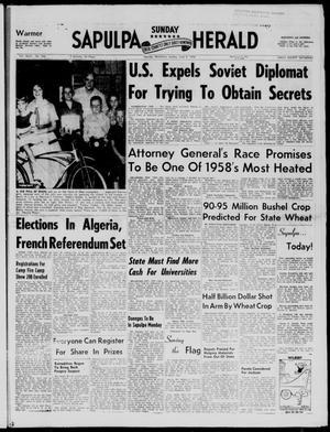 Primary view of Sapulpa Sunday Herald (Sapulpa, Okla.), Vol. 43, No. 236, Ed. 1 Sunday, June 8, 1958