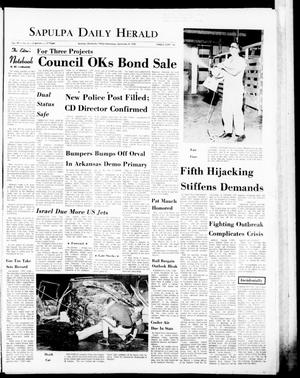 Primary view of object titled 'The Sapulpa Daily Herald (Sapulpa, Okla.), Vol. 57, No. 6, Ed. 1 Wednesday, September 9, 1970'.