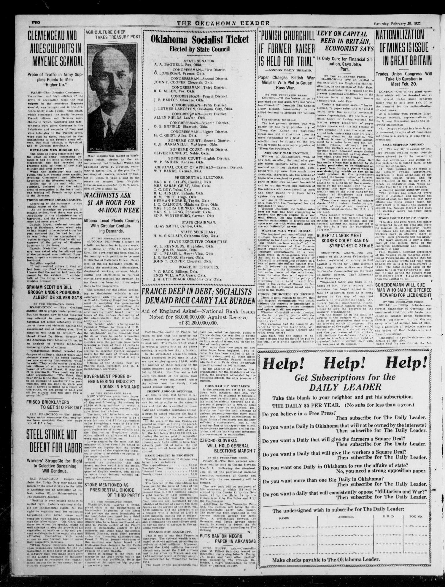 The Oklahoma Leader (Oklahoma City, Okla.), Vol. 6, No. 34, Ed. 1 Saturday, February 28, 1920                                                                                                      [Sequence #]: 2 of 4