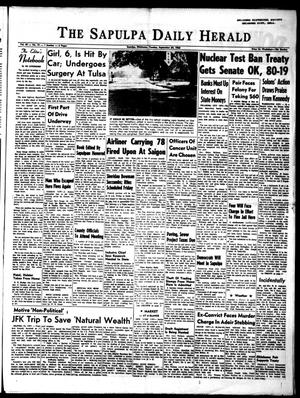 Primary view of object titled 'The Sapulpa Daily Herald (Sapulpa, Okla.), Vol. 49, No. 19, Ed. 1 Tuesday, September 24, 1963'.