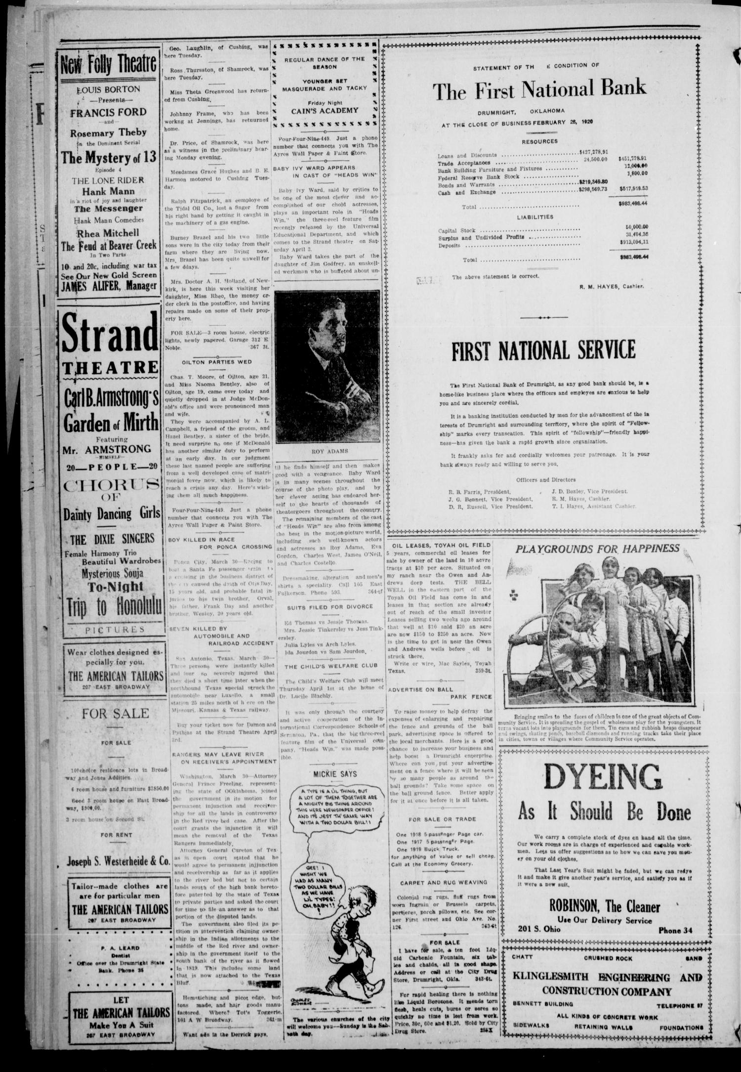 Drumright Evening Derrick (Drumright, Okla.), Vol. 5, No. 1, Ed. 1 Tuesday, March 30, 1920                                                                                                      [Sequence #]: 4 of 8