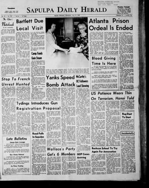 Primary view of Sapulpa Daily Herald (Sapulpa, Okla.), Vol. 53, No. 233, Ed. 1 Wednesday, June 12, 1968