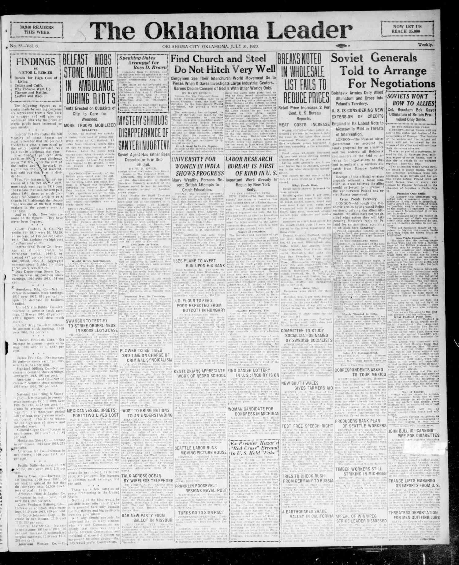 The Oklahoma Leader (Oklahoma City, Okla.), Vol. 6, No. 55, Ed. 1 Saturday, July 31, 1920                                                                                                      [Sequence #]: 1 of 4