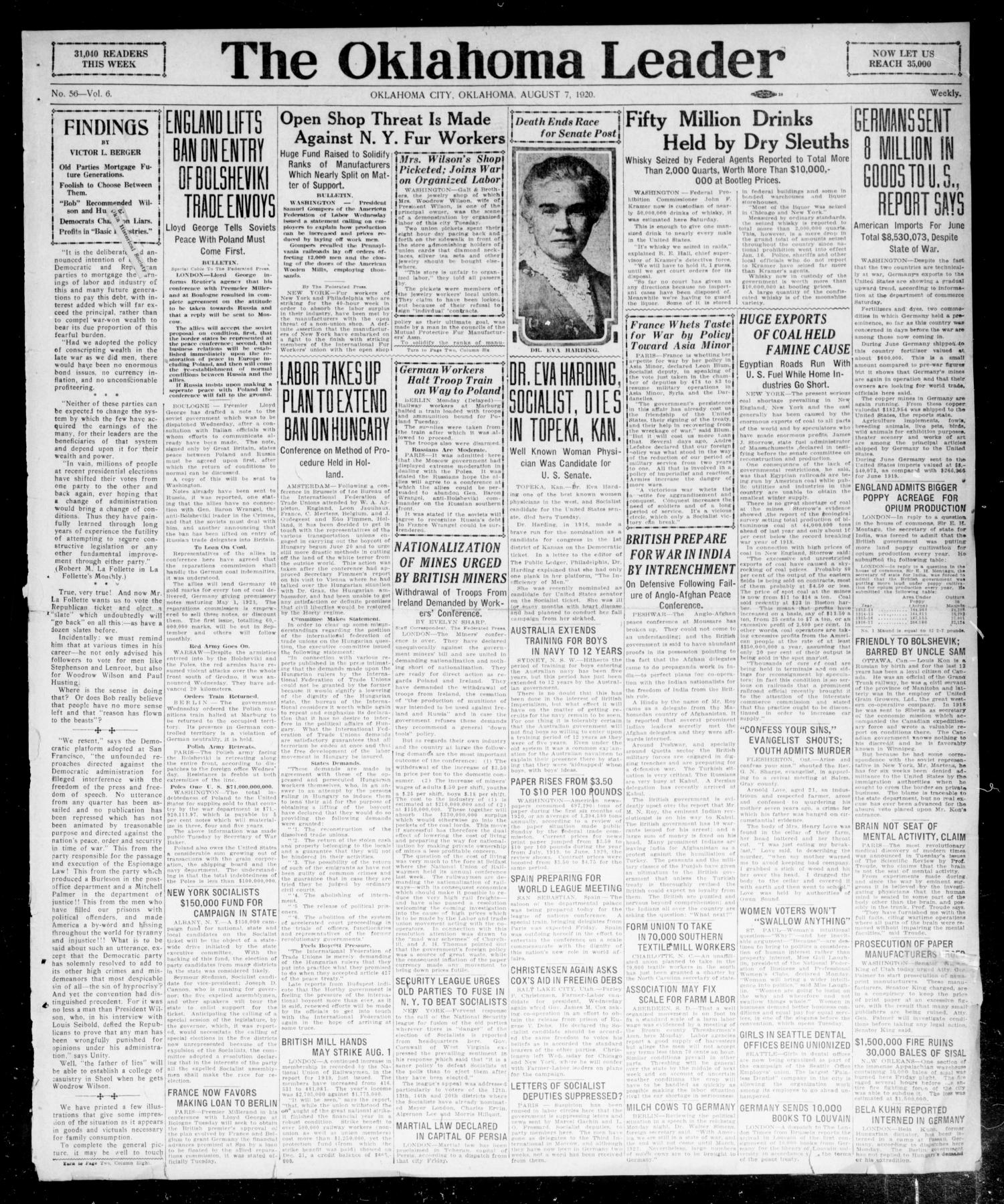 The Oklahoma Leader (Oklahoma City, Okla.), Vol. 6, No. 56, Ed. 1 Saturday, August 7, 1920                                                                                                      [Sequence #]: 1 of 4