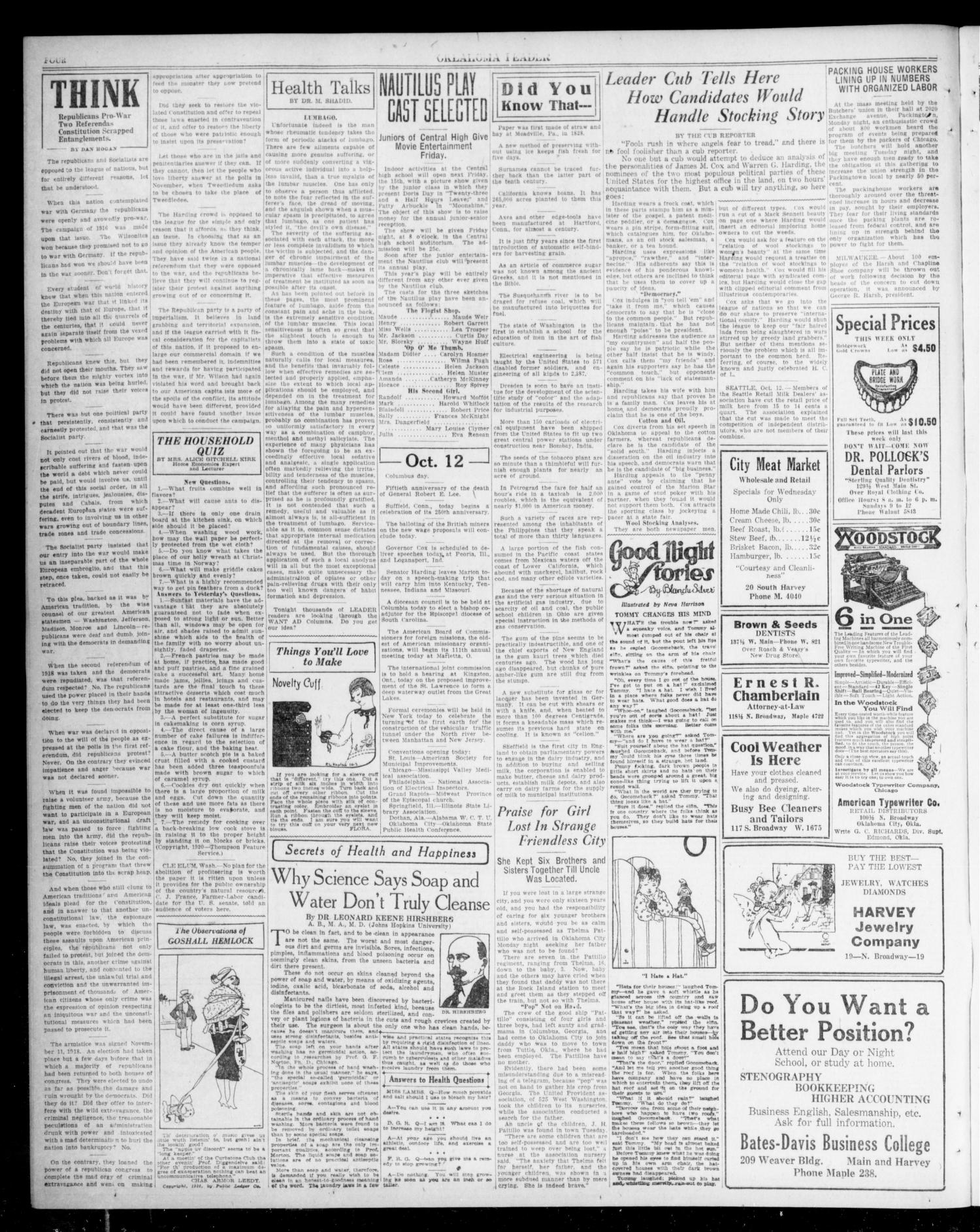 Oklahoma Leader (Oklahoma City, Okla.), Vol. 1, No. 50, Ed. 1 Tuesday, October 12, 1920                                                                                                      [Sequence #]: 4 of 8