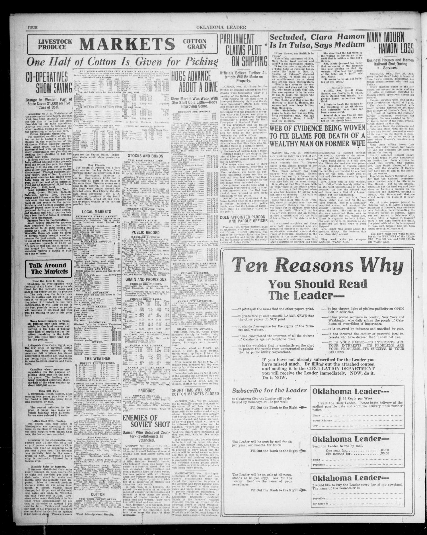 Oklahoma Leader (Oklahoma City, Okla.), Vol. 1, No. 92, Ed. 1 Tuesday, November 30, 1920                                                                                                      [Sequence #]: 4 of 8