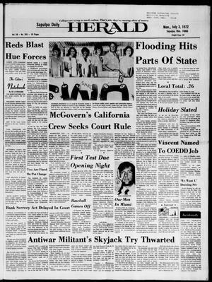 Primary view of Sapulpa Daily Herald (Sapulpa, Okla.), Vol. 58, No. 263, Ed. 1 Monday, July 3, 1972