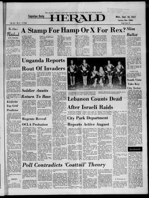 Primary view of Sapulpa Daily Herald (Sapulpa, Okla.), Vol. 59, No. 4, Ed. 1 Monday, September 18, 1972