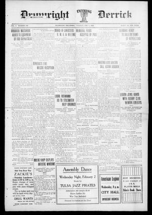 Primary view of Drumright Evening Derrick (Drumright, Okla.), Vol. 5, No. 260, Ed. 1 Tuesday, February 1, 1921