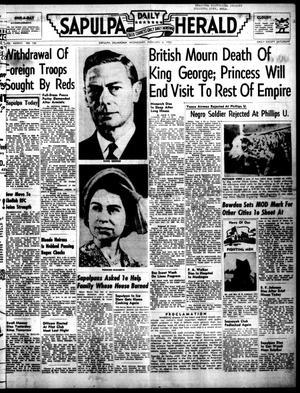 Primary view of Sapulpa Daily Herald (Sapulpa, Okla.), Vol. 37, No. 132, Ed. 1 Wednesday, February 6, 1952