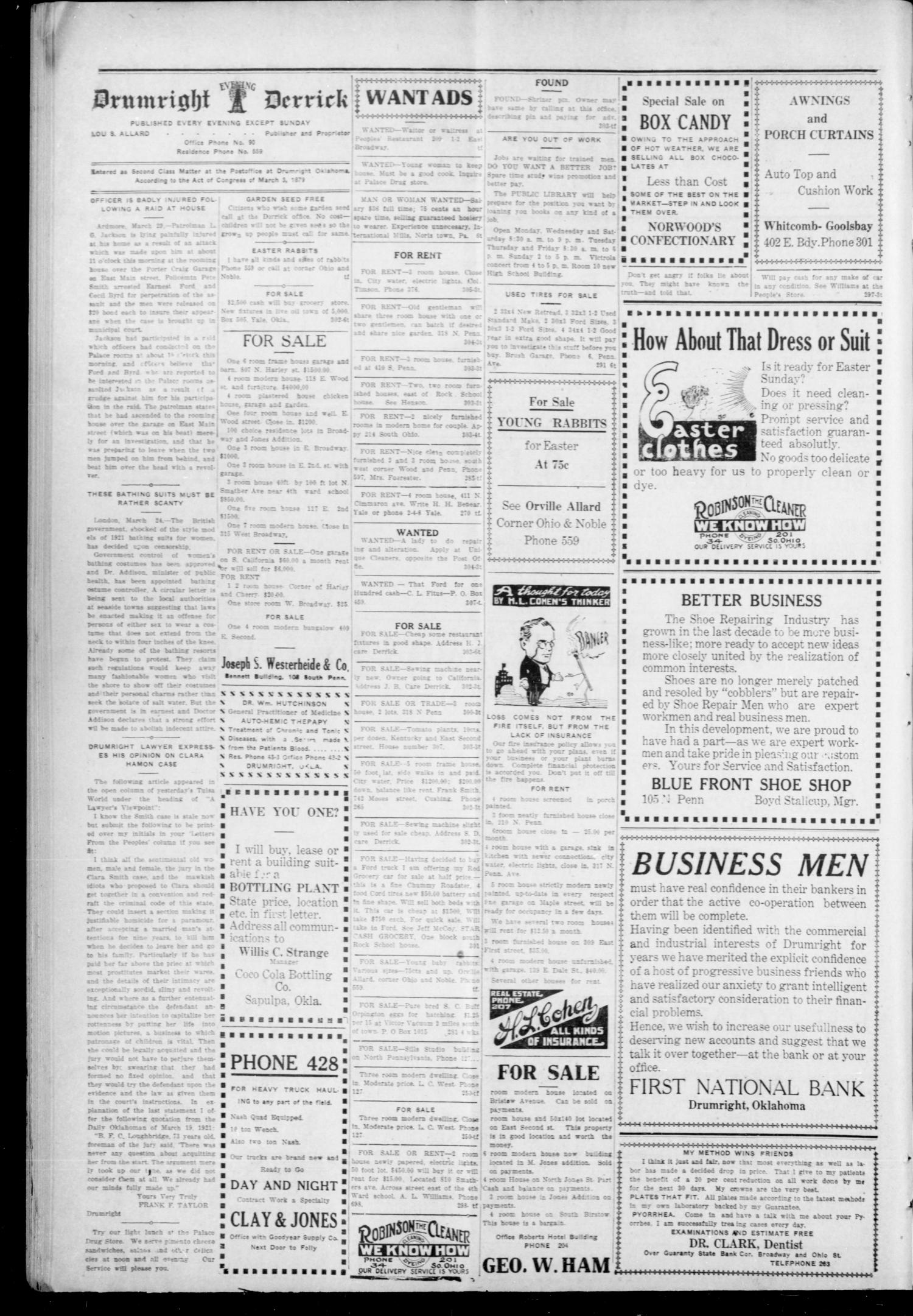 Drumright Evening Derrick (Drumright, Okla.), Vol. 5, No. 305, Ed. 1 Friday, March 25, 1921                                                                                                      [Sequence #]: 2 of 2