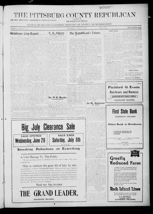 Primary view of object titled 'The Pittsburg County Republican (Hartshorne, Okla.), Vol. 4, No. 12, Ed. 1 Thursday, June 29, 1922'.
