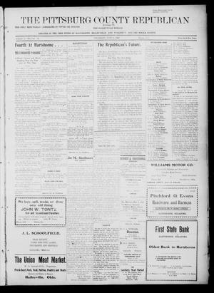 Primary view of object titled 'The Pittsburg County Republican (Hartshorne, Okla.), Vol. 4, No. 13, Ed. 1 Thursday, July 6, 1922'.