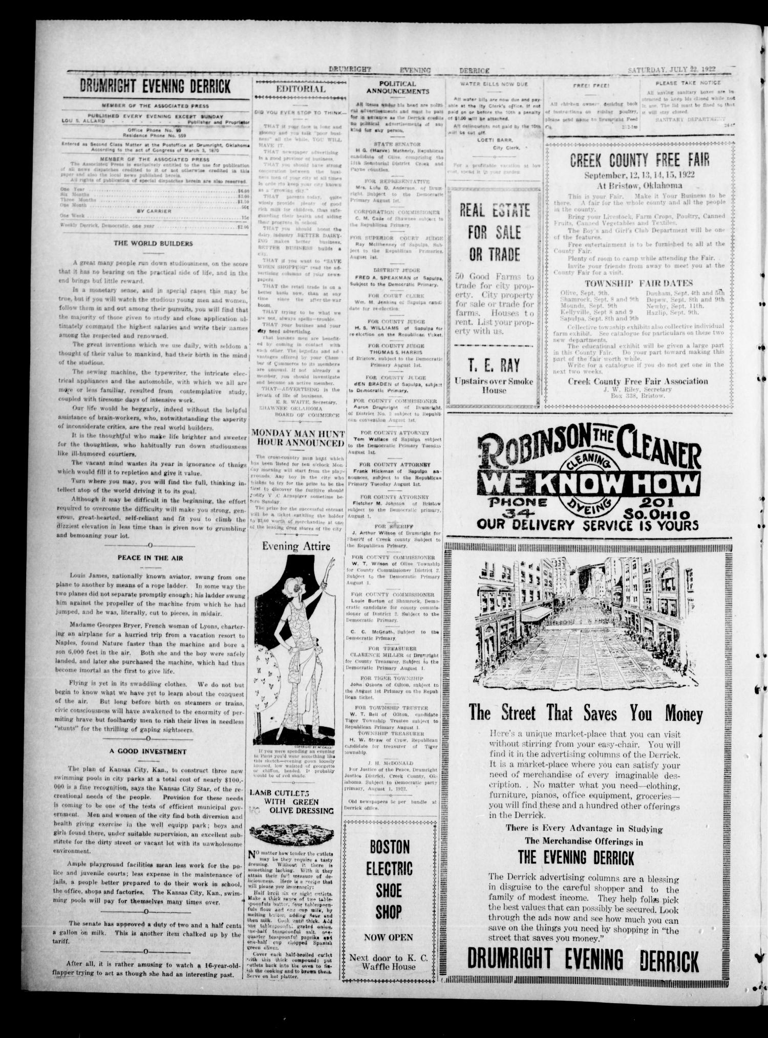 Drumright Evening Derrick (Drumright, Okla.), Vol. 7, No. 38, Ed. 1 Saturday, July 22, 1922                                                                                                      [Sequence #]: 2 of 6