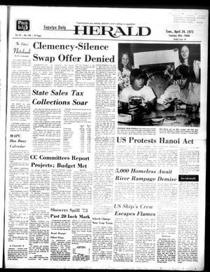 Primary view of Sapulpa Daily Herald (Sapulpa, Okla.), Vol. 59, No. 190, Ed. 1 Tuesday, April 24, 1973