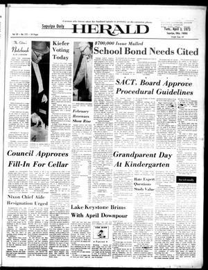 Primary view of Sapulpa Daily Herald (Sapulpa, Okla.), Vol. 59, No. 172, Ed. 1 Tuesday, April 3, 1973