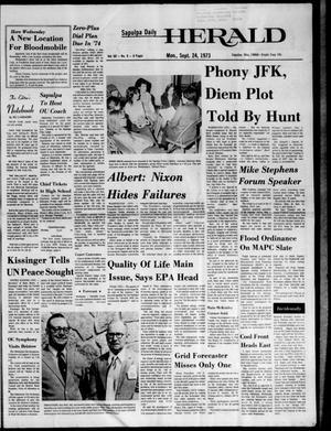 Primary view of Sapulpa Daily Herald (Sapulpa, Okla.), Vol. 60, No. 9, Ed. 1 Monday, September 24, 1973
