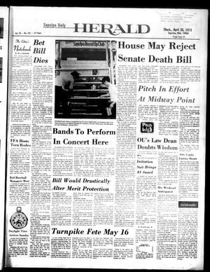 Primary view of Sapulpa Daily Herald (Sapulpa, Okla.), Vol. 59, No. 192, Ed. 1 Thursday, April 26, 1973