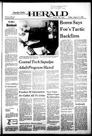 Primary view of Sapulpa Daily Herald (Sapulpa, Okla.), Vol. 64, No. 282, Ed. 1 Friday, August 11, 1978