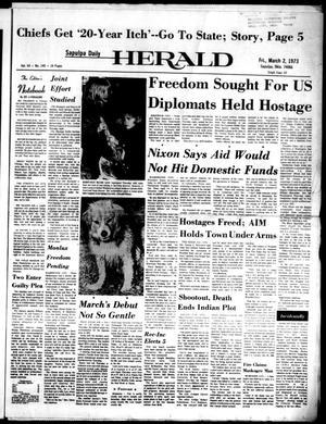 Primary view of Sapulpa Daily Herald (Sapulpa, Okla.), Vol. 59, No. 145, Ed. 1 Friday, March 2, 1973