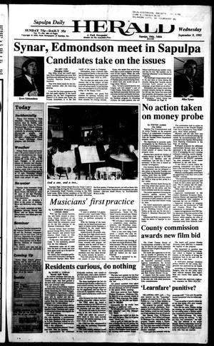 Primary view of Sapulpa Daily Herald (Sapulpa, Okla.), Vol. 78, No. 309, Ed. 1 Wednesday, September 9, 1992