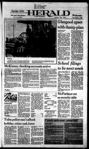 Primary view of Sapulpa Daily Herald (Sapulpa, Okla.), Vol. 72, No. 70, Ed. 1 Wednesday, December 4, 1985