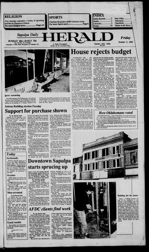 Primary view of Sapulpa Daily Herald (Sapulpa, Okla.), Vol. 77, No. 19, Ed. 1 Friday, October 5, 1990