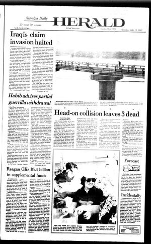 Primary view of object titled 'Sapulpa Daily Herald (Sapulpa, Okla.), Vol. 68, No. 262, Ed. 1 Monday, July 19, 1982'.