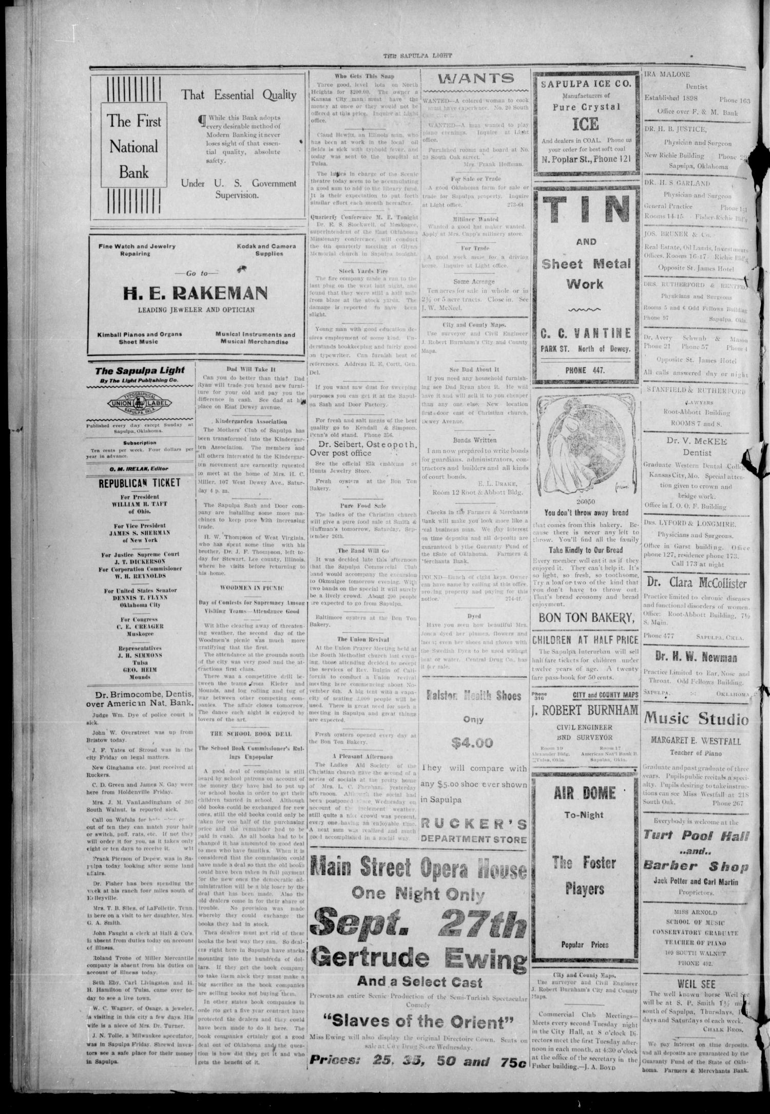The Sapulpa Light (Sapulpa, Okla.), Vol. 1, No. 284, Ed. 1 Friday, September 25, 1908                                                                                                      [Sequence #]: 4 of 4