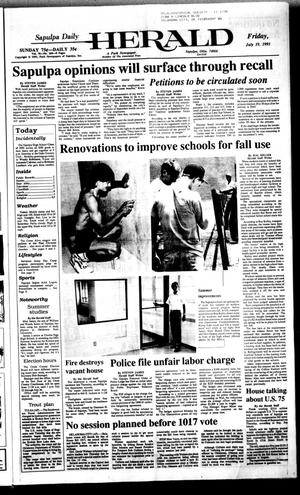 Primary view of object titled 'Sapulpa Daily Herald (Sapulpa, Okla.), Vol. 77, No. 264, Ed. 1 Friday, July 19, 1991'.