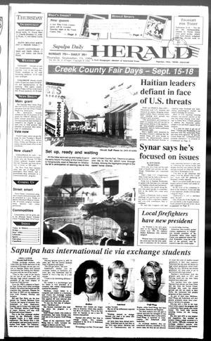 Primary view of Sapulpa Daily Herald (Sapulpa, Okla.), Vol. 81, No. 2, Ed. 1 Thursday, September 15, 1994