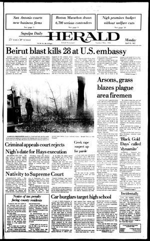 Primary view of Sapulpa Daily Herald (Sapulpa, Okla.), Vol. 69, No. 186, Ed. 1 Monday, April 18, 1983
