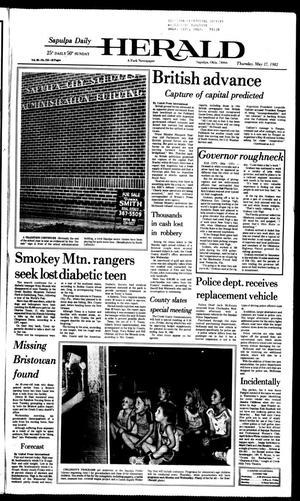 Primary view of Sapulpa Daily Herald (Sapulpa, Okla.), Vol. 68, No. 218, Ed. 1 Thursday, May 27, 1982