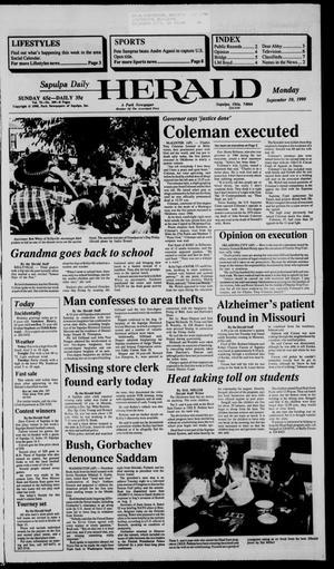 Primary view of Sapulpa Daily Herald (Sapulpa, Okla.), Vol. 76, No. 309, Ed. 1 Monday, September 10, 1990