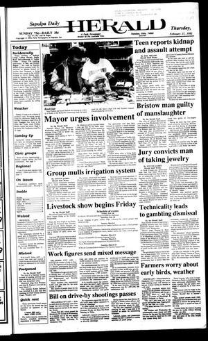 Primary view of Sapulpa Daily Herald (Sapulpa, Okla.), Vol. 78, No. 142, Ed. 1 Thursday, February 27, 1992