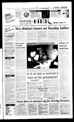 Primary view of Sapulpa Daily Herald (Sapulpa, Okla.), Vol. 83, No. 126, Ed. 1 Monday, February 9, 1998