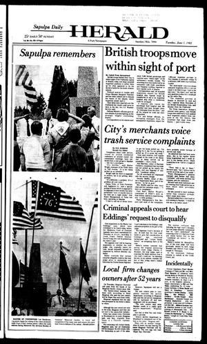 Primary view of Sapulpa Daily Herald (Sapulpa, Okla.), Vol. 68, No. 222, Ed. 1 Tuesday, June 1, 1982