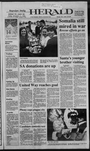 Primary view of Sapulpa Daily Herald (Sapulpa, Okla.), Vol. 79, No. 77, Ed. 1 Friday, December 11, 1992