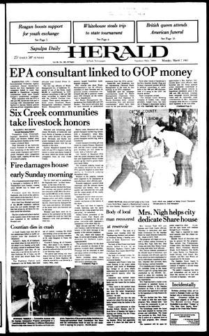 Primary view of Sapulpa Daily Herald (Sapulpa, Okla.), Vol. 69, No. 150, Ed. 1 Monday, March 7, 1983