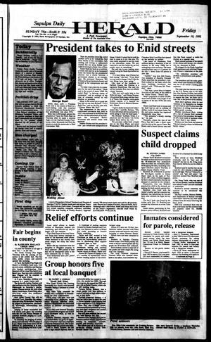 Primary view of Sapulpa Daily Herald (Sapulpa, Okla.), Vol. 79, No. 5, Ed. 1 Friday, September 18, 1992