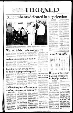 Primary view of Sapulpa Daily Herald (Sapulpa, Okla.), Vol. 68, No. 175, Ed. 1 Wednesday, April 7, 1982