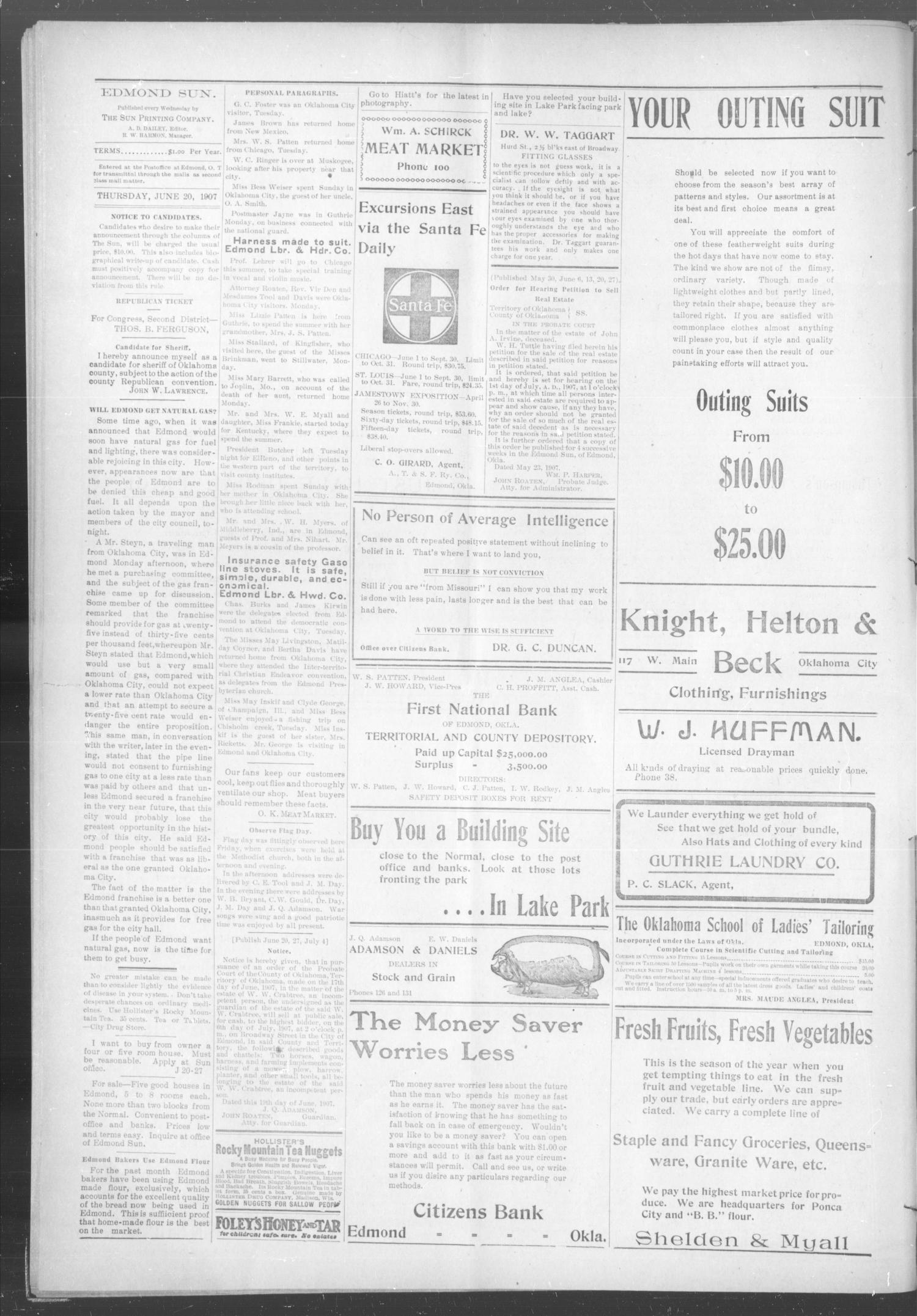 The Edmond Sun (Edmond, Okla. Terr.), Vol. 18, No. 49, Ed. 1 Thursday, June 20, 1907                                                                                                      [Sequence #]: 4 of 8