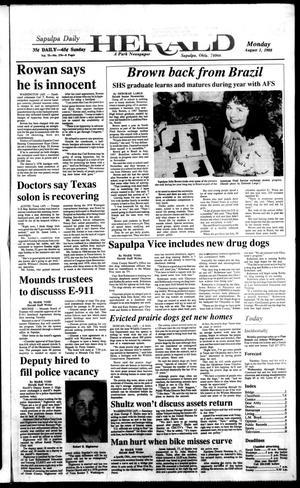 Primary view of Sapulpa Daily Herald (Sapulpa, Okla.), Vol. 74, No. 276, Ed. 1 Monday, August 1, 1988