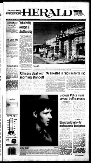 Primary view of Sapulpa Daily Herald (Sapulpa, Okla.), Vol. 89, No. 14, Ed. 1 Monday, September 29, 2003