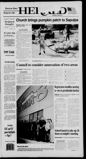 Primary view of Sapulpa Daily Herald (Sapulpa, Okla.), Vol. 90, No. 18, Ed. 1 Monday, October 4, 2004