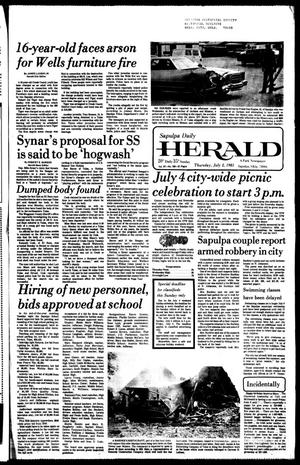 Primary view of object titled 'Sapulpa Daily Herald (Sapulpa, Okla.), Vol. 67, No. 249, Ed. 1 Thursday, July 2, 1981'.
