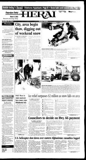 Primary view of Sapulpa Daily Herald (Sapulpa, Okla.), Vol. 87, No. 147, Ed. 1 Monday, March 4, 2002