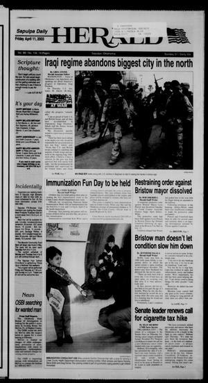 Primary view of Sapulpa Daily Herald (Sapulpa, Okla.), Vol. 88, No. 156, Ed. 1 Friday, April 11, 2003